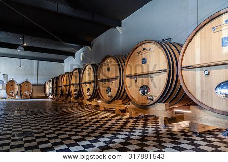France Lyon 2019-06-21 Giant Wooden Barrels, Aging, Fermentation, Store Modern Cellar Brocard, Chess