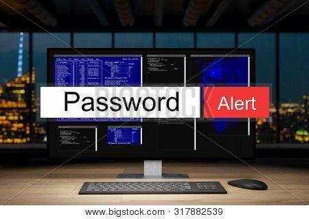 computer workstation in dark night office skyline view warning password alert, 3D Illustration poster