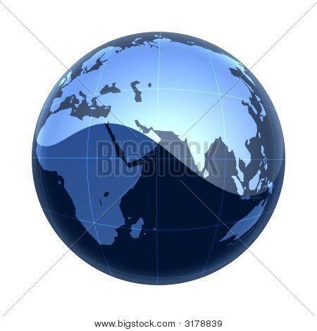 Blue Map World Africa To Asia
