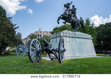 Washington, Dc - August 4, 2019: Statue In Layfayette Square, Washington, Dc, Of President Andrew Ja