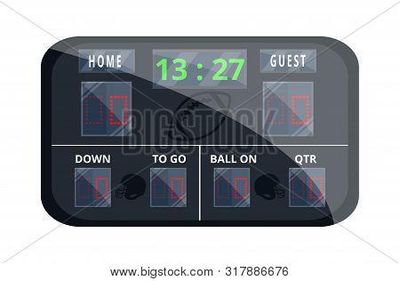 Hockey Scoreboard. Sport Scoreboard. Flat Cartoon Style Vector Illustration Icons. Isolated On White