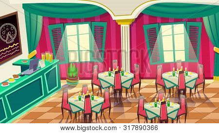Cafe Interior Design. Coffee Shop, Bakery, Restaurant Or Pizza Bar. Spacious Cafeteria With Tables A