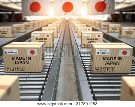 Made in Japan. Cardboard boxes with text made in Japan and chinese flag on the roller conveyor. 3d illustration