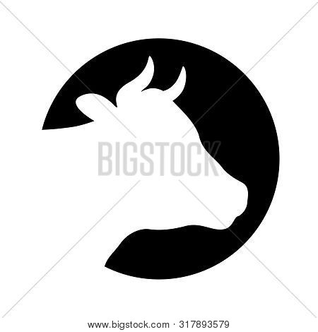 Cow head graphic icon. Cattle symbol. Logo. Cow head white silhouette in the circle Isolated on black background. Vector illustration