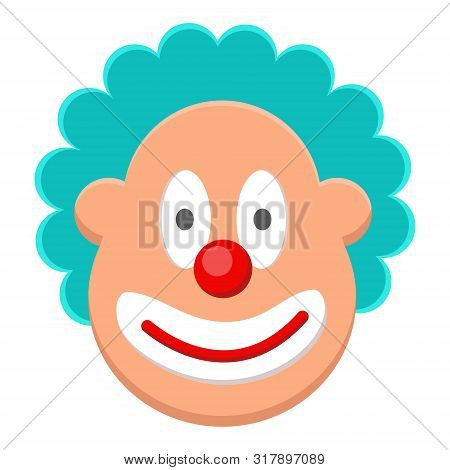 Funny, Cute, Cheerful Face Clown With Blue Curly Hair, Red Nose, Good Smile. Fat, Fatty Face.  Circu