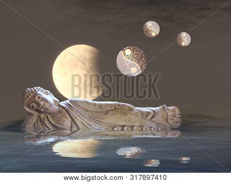 Budha Meditating With Moonlight And Yin-yang  Near The Sea