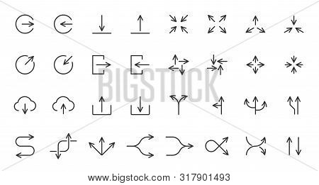 Arrow Thin Line Icon Set. Outline Sign Kit Of Pointer. Linear Curved Arrows Collection Includes Uplo