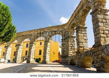Old Roman Acqueduct (waterworks) In Segovia, Spain