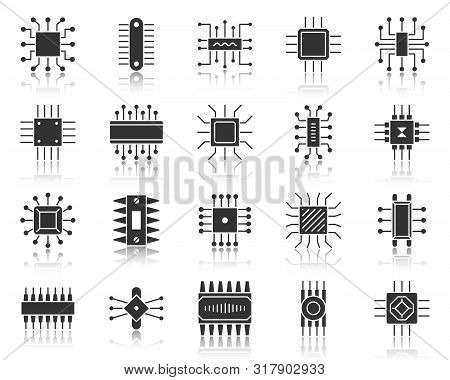 Microchip Silhouette Icons Set. Sign Kit Of Cpu. Microprocessor Pictogram Collection Includes Hi Tec
