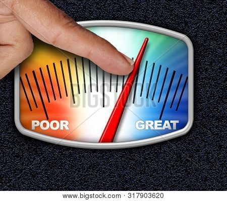 Credit Score Concept As A Person Changing The Arrow For An Improved Financial Performance Rating Wit
