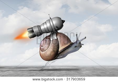 Business Acceleration Concept As A Snail With A Jet Pack Engine To Accelerate Success As A Metaphor
