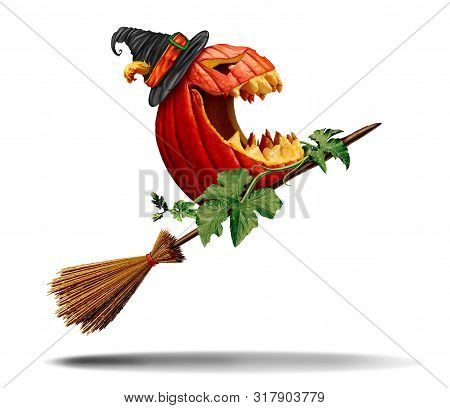 Halloween Pumpkin And Witch Broom As An Old Magical Besom For A Magical Jack O Lantern As A Symbol F