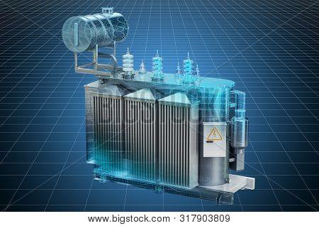 Visualization 3d Cad Model Of Transformer Oil, High Voltage Power Transformer, Blueprint. 3d Renderi