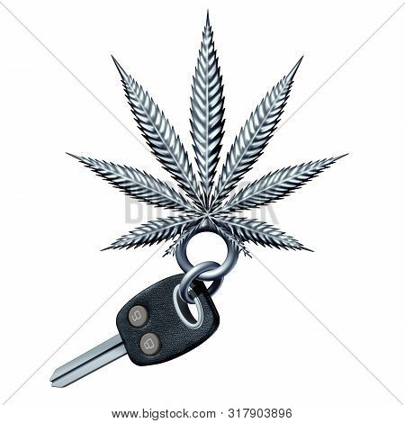 Cannabis And Driving And Marijuana Impaired Driver Concept As A Road Safety Symbol With Car Keys Sha