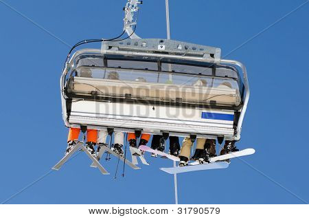 Ski Lift From Behind