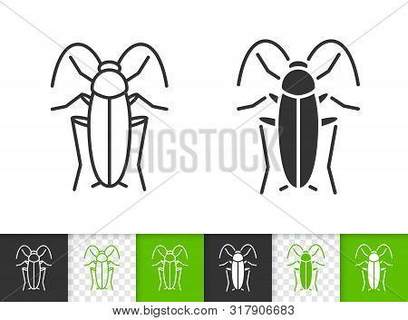 Cockroach Black Linear And Silhouette Icons. Thin Line Sign Of Roach. Home Pest Outline Pictogram Is