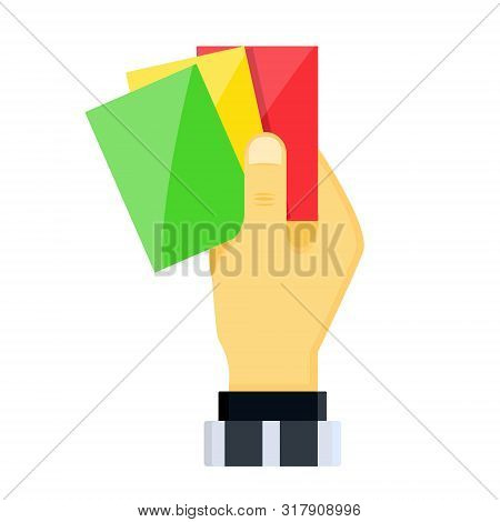 Realistic Hands Holds Out Shiny Plastic Yellow Red Football Lacrosse Sport Soccer Referee Cards For