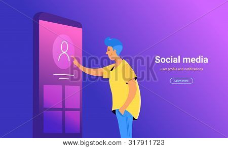 Social Media Account Profile Concept Vector Illustration Of Young Man Standing Near Big Smartphone A
