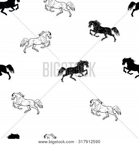 Vectorized Seamless Monochrome Background Of Figures And Silhouettes Drawn By Black And White Gallop
