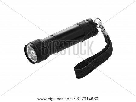 Led Flashlight Isolated On White Background. Electric Torch. Black Pocket Flashlight