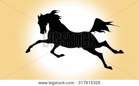 Vector Drawn Image Of A Black Silhouette Of A Galloping Horse On A Colored Background