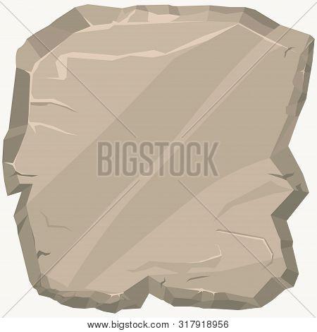 Rock Stone. Game Art Rocks Cartoon Banner. Square Stone Panel. Vector