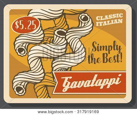 Cavatappi Pasta Tortellini Vintage Poster. Vector Italian Restaurant Or Italy Fast Food Cafe Traditi