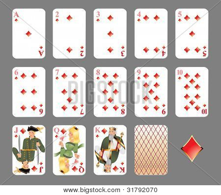 Playing cards. Diamond suit - highly detailed vector illustration