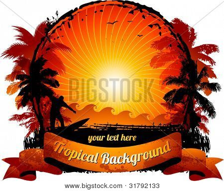 Orange sunset surfing beach banner