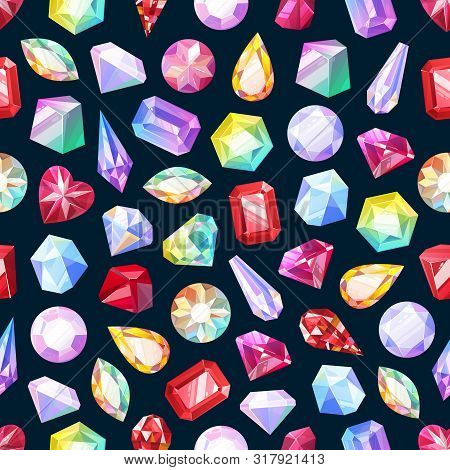 Gemstones, Gem Jewels And Diamonds, Jewelry Precious Stones Seamless Pattern. Vector Background Of R