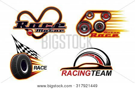 Car Races, Motor Speed Show And Street Racing Icons. Vector Car Race Heart Track, Engine And Tire Wh