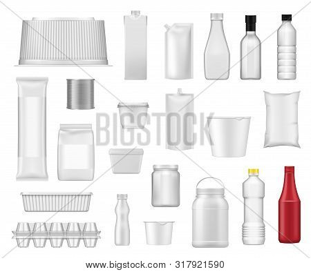Food Packages And Product Plastic Box Packs Realistic Templates. Vector 3d Water Drink Bottle, Yogur