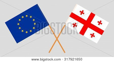 Georgia And The Eu. Crossed Georgian And European Flags. Official Colors. Correct Proportion. Vector