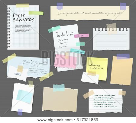 Paper Notes On Stickers, Notepads And Memo Messages Torn Paper Sheets. Vector Blank Sticky Notepaper
