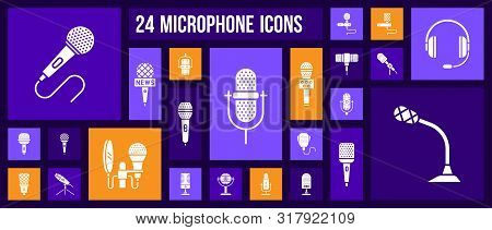 Microphone Silhouette Icons Set. Isolated Sign Kit Of Mic. Journalist Interview Pictograms Includes