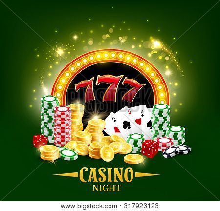 Casino Night Poster, Poker Gambling Cards And Dice. Vector Casino Jackpot Big Win Golden Cash Coins,