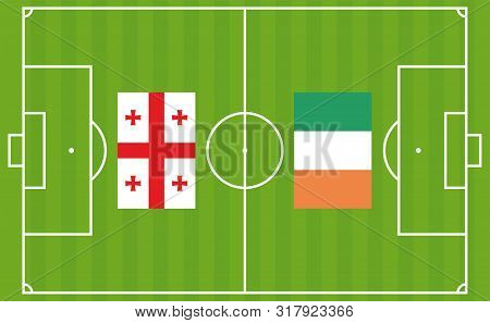 An Illustration For Football Tournament Between Georgia And Ireland. The National Flags Over Footbal