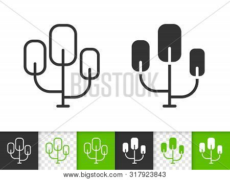 Geometric Tree Black Linear And Silhouette Icons. Thin Line Sign Of Sapling. Poplar Outline Pictogra