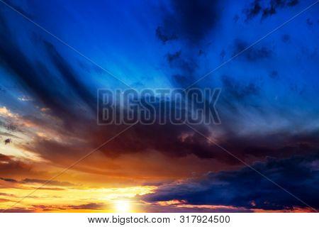 Beautiful Heavenly Landscape With The Sun In The Clouds  .beautiful Sunset .  Beautiful Heavenly Lan