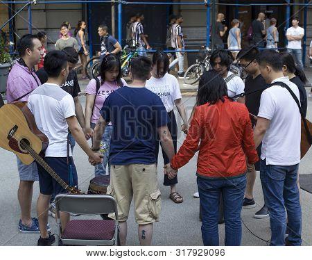 New York, New York/usa - July 27, 2019: Members Of Church Of Jesus Pray On Herald Square During Evan