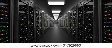 Server Racks In Server Room Cloud Data Center. Exit Door. Datacenter Hardware Cluster. Backup, Hosti