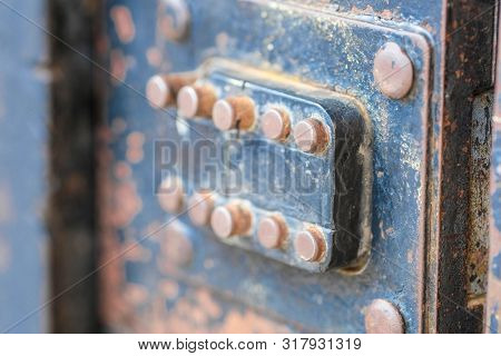 Retro metal doorphone close up
