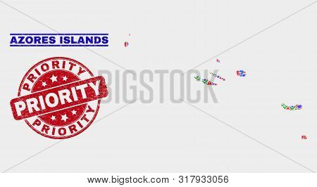 Symbolic Mosaic Azores Islands Map And Seal Stamps. Red Round Priority Textured Watermark. Bright Az