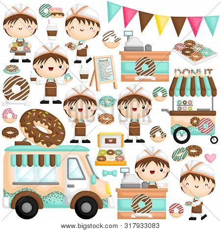 A Vector Of Cute Little Boy Selling And Serving Donut In Various Poses With Other Items