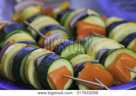 Summer Fresh Garden Vegetable Kabobs Ready To Grill On The Barbecue