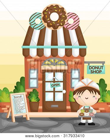 A Vector Of Cute Little Boy Selling Donut In Front Of A Classic Donut Shop