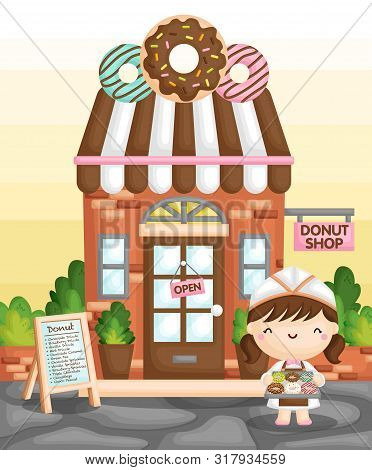 A Vector Of Cute Little Girl Selling Donut In Front Of A Classic Donut Shop