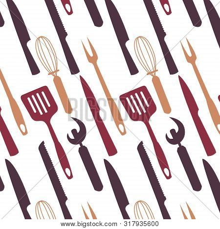 Pattern Image With Kitchen Appliances. Various Knives, Blades, Mugs, Spoons, Scoops, Sponges. Cuisin