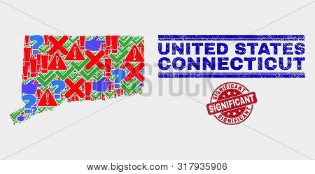 Symbol Mosaic Connecticut State Map And Seal Stamps. Red Rounded Significant Textured Seal. Colorful