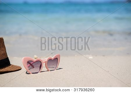 Glasses On White Sandy Tropical Beach, Summer Vacation And Travel Concept